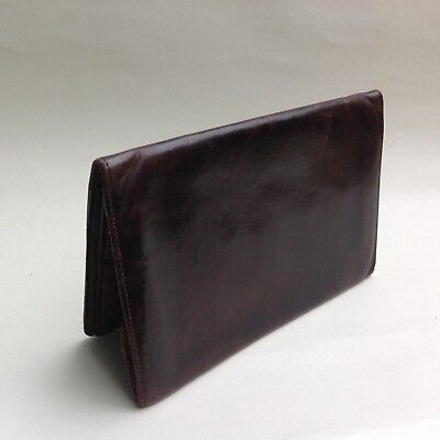 Vintage Well Loved 1950s Gentleman's Note & Stamp Wallet Soft Dark Brown Leather