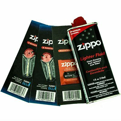 Zippo Gift Set - 4 oz Lighter Fluid with 1 Wick Card and 2 Flint Cards