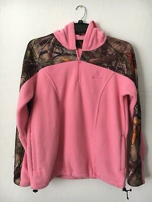 c658da965e93b Women's Huntworth Pink Hunting Camo Camouflage Pullover Fleece Jacket Sz L