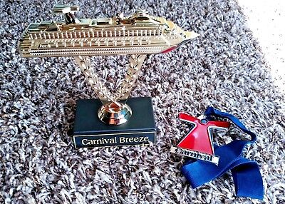 Carnival Breeze Gold Plastic Ship on a Stick Cruise Ship Trophy plus New Medal