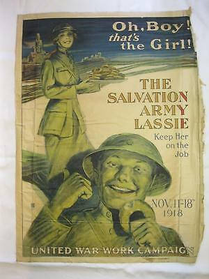 Oh Boy Thats The Girl Army Lassie 1918 Original Old Vtg WWI War Poster Woman