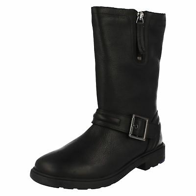 Girls Clarks Mid Calf Length Biker Chick Zip Up Leather Casual Boots Ines Spot