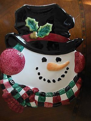 """Fitz and Floyd Essentials 10"""" Snowman Plate Hand Crafted Christmas"""