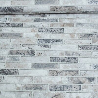 Natural Granite Marble Stone Brick Wallpaper Textured White Grey Charcoal 3D