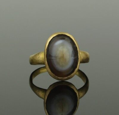 Ancient Roman Gold & Agate Ring - Circa 2Nd Century Ad   024