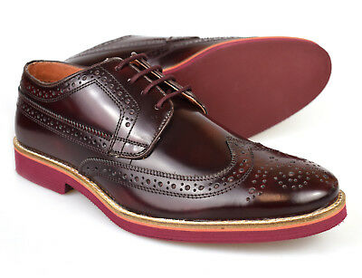 Mens Premium Leather Patent Oxblood Formal Lightweight Brogues