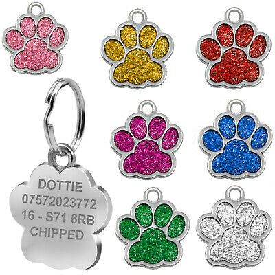 Engraved Cat Tag Personalised Kitten Charm Collar Neck Pet Animal Feline ID Paw