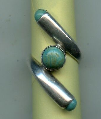 Vintage Mexico Ring 925 Sterling Silver & Turquoise Unique Design