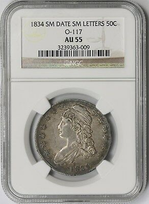 1834 O-117 Small Date Small Letters 50C NGC AU 55 Capped Bust Half Dollar
