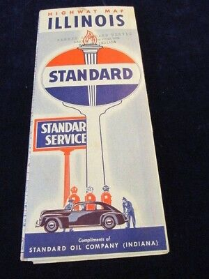Vintage 1940's Illinois Standard Oil State Highway Road Map