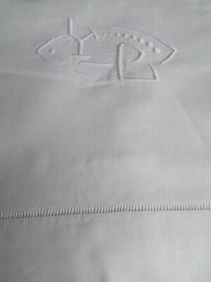 """Superb French Linen KING Bed Sheet  Vintage  embroidery Initial """"YC""""   2 of 4"""