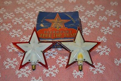 2 vintage Paramount Tree Top red & white Stars, one box ~ General electric Mazda