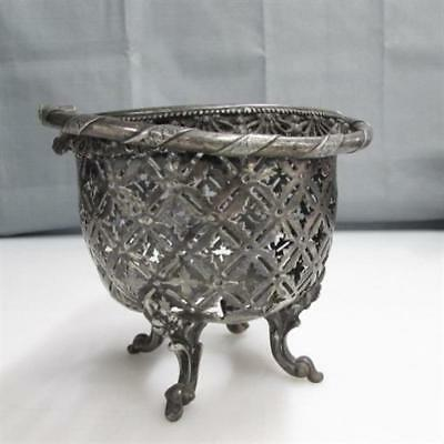 """Vintage Silver Plated Pierced Footed Basket Planter 4"""" x 4"""" x 5"""""""