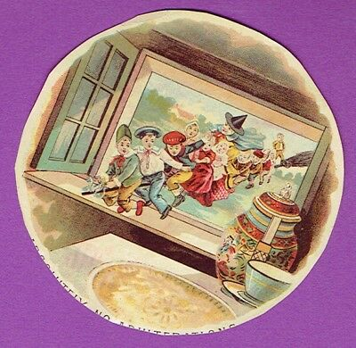 c.1895 Halloween WITCH on Broom w/children DOUGHERTY'S New England MINCE MEAT