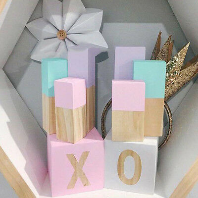 2x Solid Wood Cubes Letter Blcok Baby Pet Toy DIY Crafts Blocks Cube 5x5x5cm
