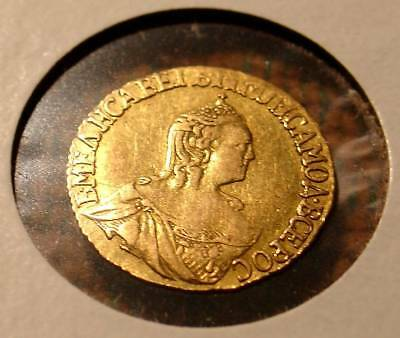 Rare Imperial Russia 1756/7 Gold Russian Coin Tsarina Elisabeth Rouble Condition