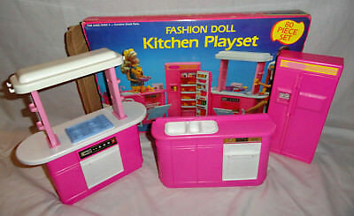 Vintage Barbie 1992 Fashion Doll Kitchen Set By Arco Mattel No