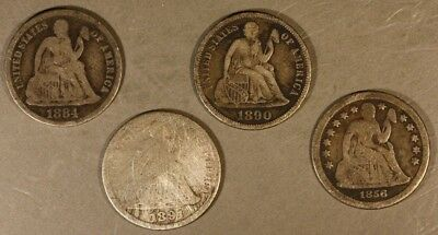 Liberty Seated Dimes, Lot of 4, Lower Grade or Damaged  ** FREE U.S. SHIPPING **