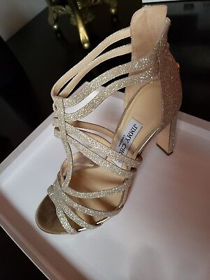 0df57b7c3f30  895 NEW JIMMY Choo Selina Glitter strappy caged leather high heel ...