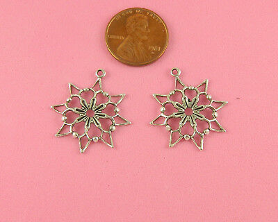 Vintage Design Small Antique Silver Plated Brass Star Flower Drop - 6 Pcs