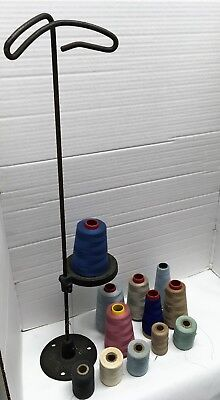 Antique Cast iron Cotton Spool Co Single Spool Thread Stand Sewing Embroidery