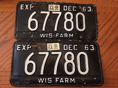 Vintage Wisconsin Farm License Plate Set Of 2, 1963 White On Black 63. Plates