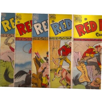 D798 Lot Of 5 Red Ryder Western Dell Golden Age Comic Books