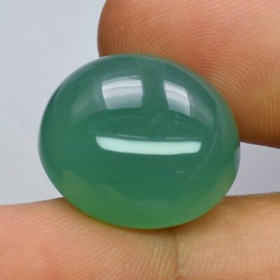 36.30ct 21.8x19.4mm Oval Cabochon Natural Green Chalcedony, Brazil
