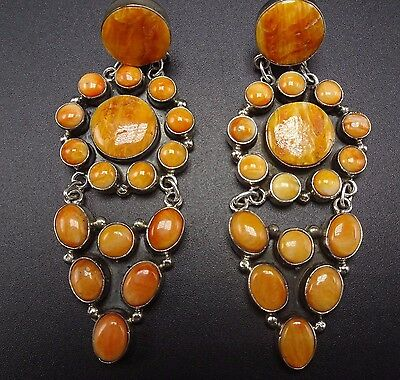 Signed NAVAJO Sterling Silver & ORANGE Spiny Oyster Shell Cluster EARRINGS