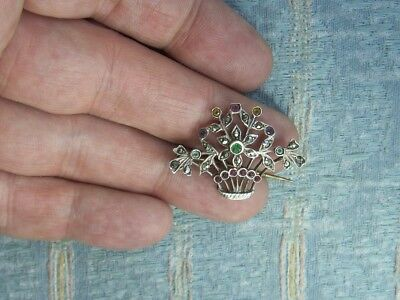 Old Antique Art Deco French Sterling Silver Marcasite Flower Basket Brooch 1930s