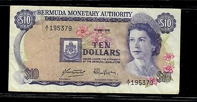 Bermuda Monetary Authority 10 Dollars 1978 p-30b Fine