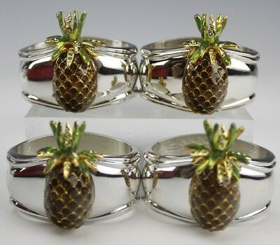 Set of 4 Signed HANS TURNWALD Enameled Pineapple Swarovski Napkin Rings NR JSU