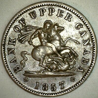 1857 Canada Bank Token Bank of Upper Canada One Penny Anchor Horse Large Cent K