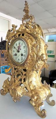 Superb Large Antique 19thc French Solid Gilt Pierced Bronze Mantel / Table clock