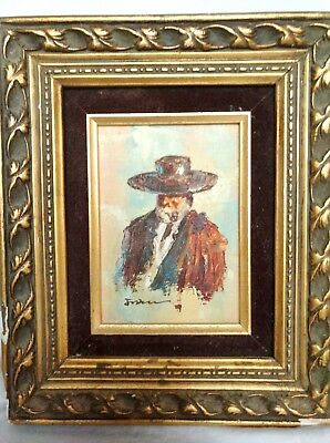 Vtg Oil Painting OLD MAN SMOKING A PIPE Framed Small Signed Foster ? Hat