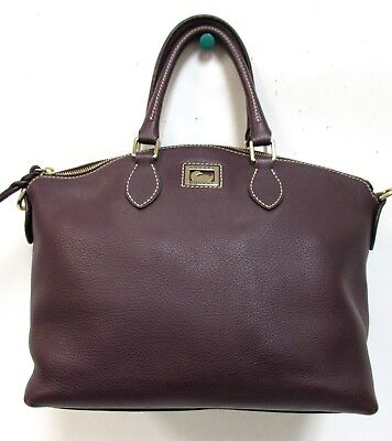 Authentic Dooney & Bourke Plum Purple Pebble Leather Large Satchel Purse Bag