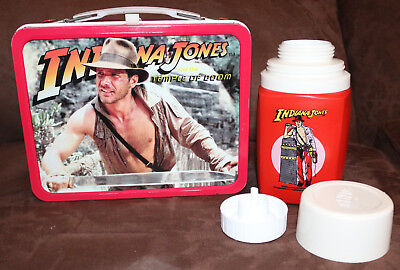 Vintage Indian Jones and the Temple of Doom Thermos Lunch Box See Photos