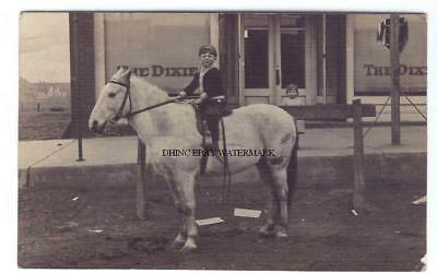 1911 Real Photo Postcard Young Boy on Horse The Dixie Store Weatherford Oklahoma