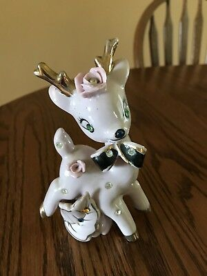 Vintage Ceramic  Pink Deer With Rhinestones- Wales Japan
