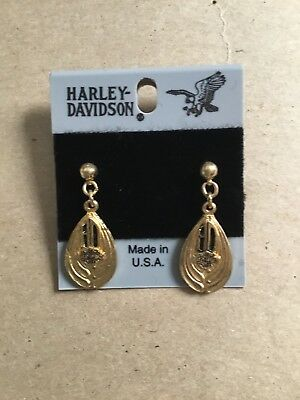 Licensed HD Harley Davidson Dangling Gold tone Post Earrings Bar Shield Made USA