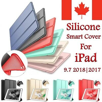 For Apple iPad 9.7 Case  (2018 / 2017) - Silicone Stand Slim Soft TPU Back Cover