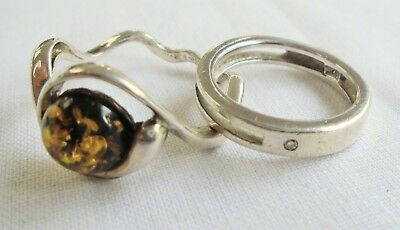 Good vintage sterling silver & amber ring + sterling silver & diamond ring