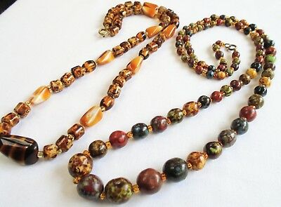 Two good vintage agate glass bead necklaces
