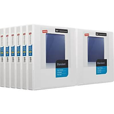case of 12 staples view window d ring binders 1 inch white
