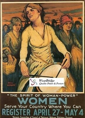 Vintage Style American World War One  Poster: The Spirit Of Women - Power