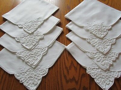 """Set of 8 White Embroidered Cut Work Napkins-16""""-Unused-Linen or Blend"""