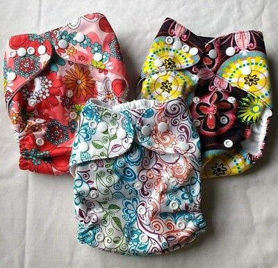 Lot of 3 OS Cloth Diapers - Pocket Style - Cute Girly Prints