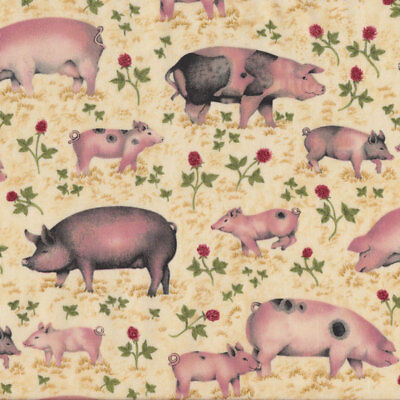 Pigs Piglets Farm Animal Country on Beige Quilting Fabric FQ or Metre *New*