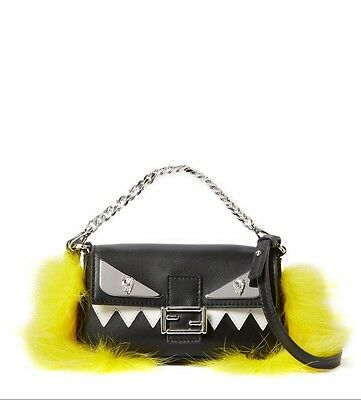 08fbd70adf7d Fendi Micro Baguette Leather Crossbody bag mini yellow fur black purse  clutch