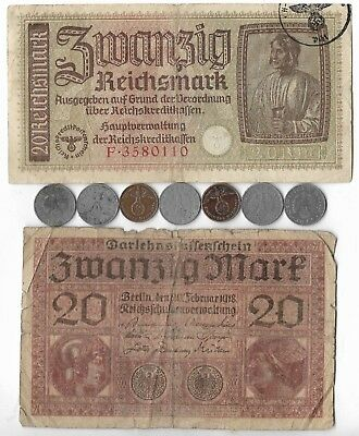 Rare Old WWI WWII Germany Great War Note Coin Wartime Currency Collection Lot:US